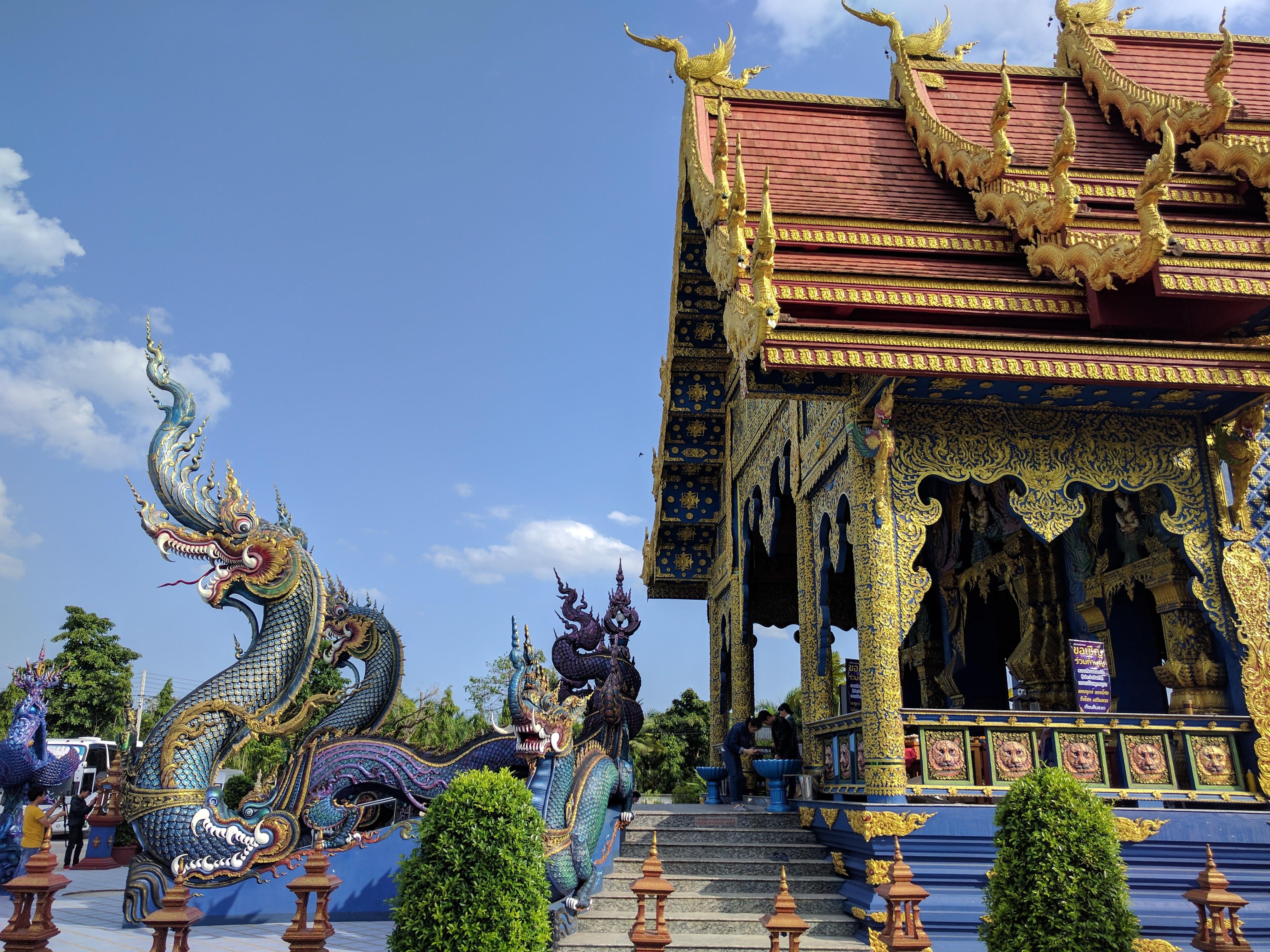 Blue temple front