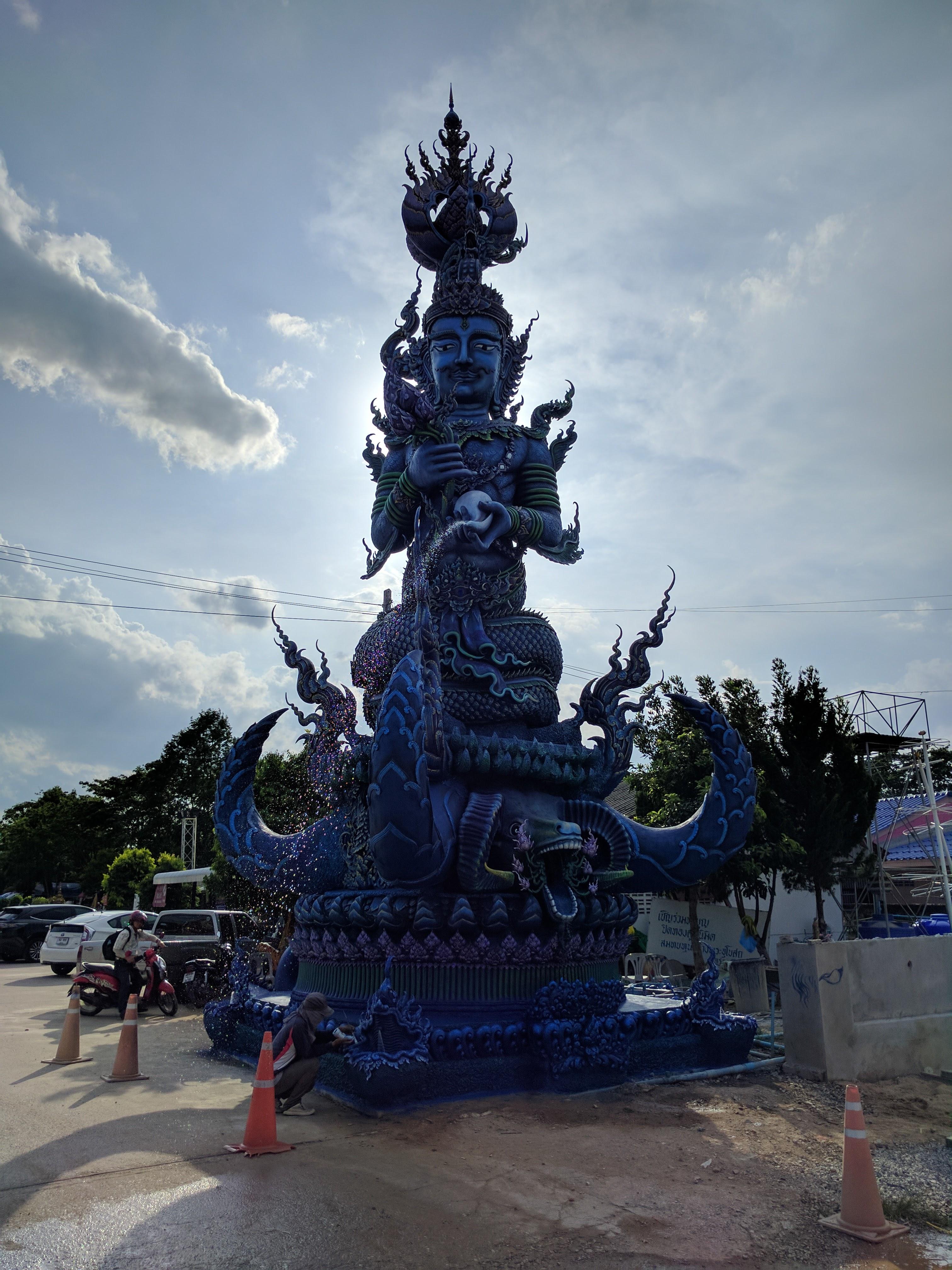 Blue temple statue